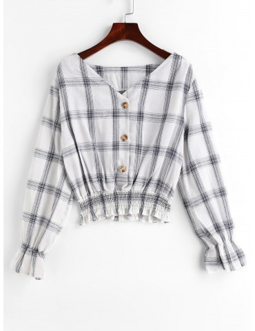 Buttons Poet Sleeve Plaid Blouse - White S