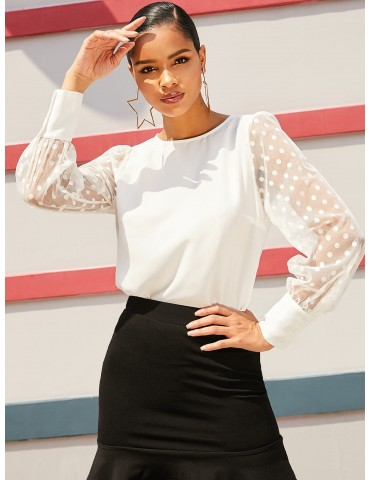 Sheer Mesh Sleeve Polka Dot Office Blouse - Milk White M