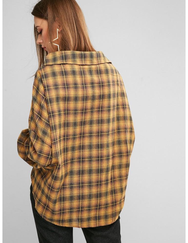 Button Down Plaid Twist Hem Shirt - Orange Gold S