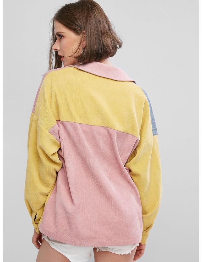 Colorblock Corduroy Shirt - Multi-a M