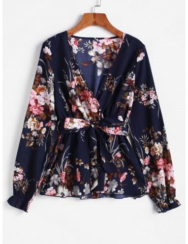 Poet Sleeve Floral Belted Skirted Blouse - Cadetblue M