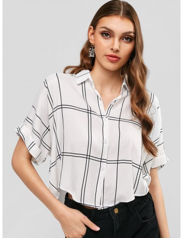 Button Down Cuffed Sleeve Plaid Shirt - Milk White S