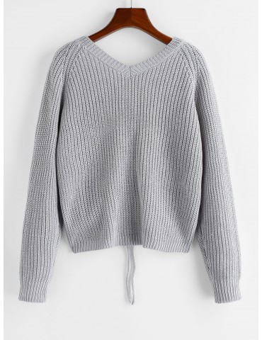 V Neck Shirred Ribbed High Low Sweater - Gray Goose M