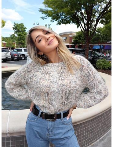 X Yasmine Bateman Heathered Cable Knit Chunky Sweater - Multi M
