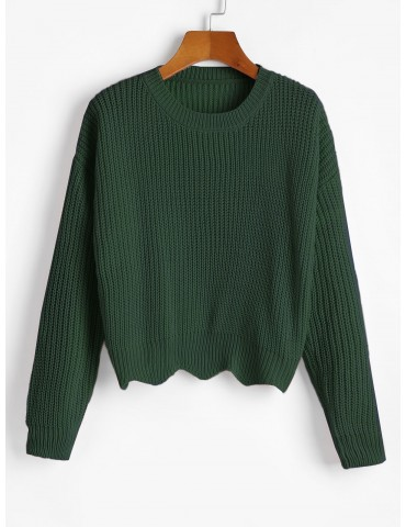 Zigzag Hem Solid Loose Sweater - Deep Green