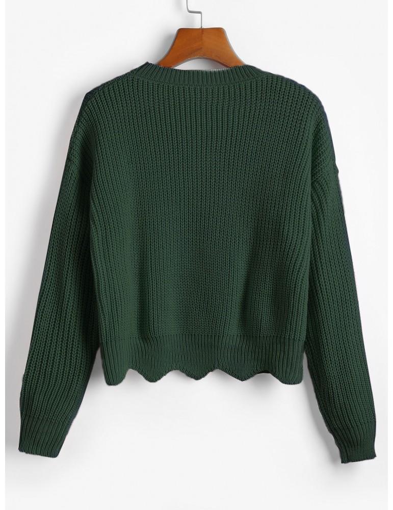 Zigzag Hem Solid Loose Sweater - Deep Green