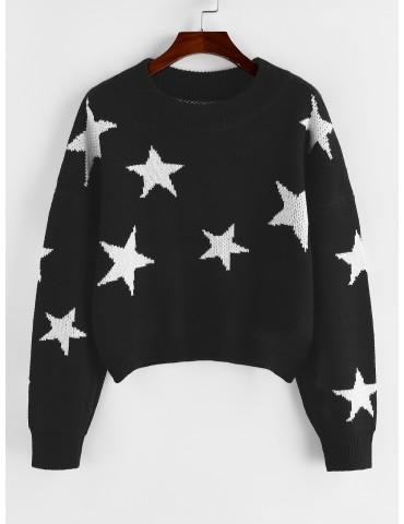 Star Drop Shoulder Jumper Sweater - Black S