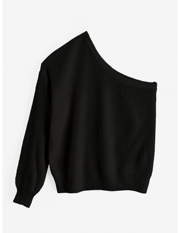 One Shoulder Lantern Sleeves Solid Sweater - Black