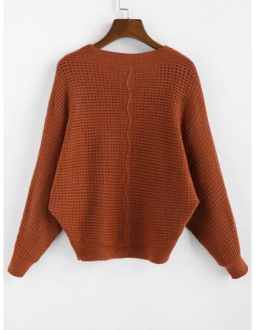 X Yasmine Bateman Dolman Sleeves V Neck Solid Open Knit Sweater - Red Dirt M