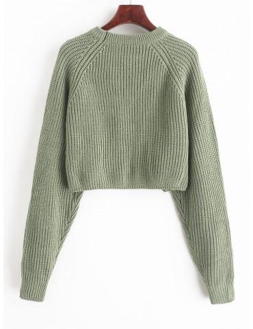 Raglan Sleeve Crop Jumper Sweater - Sea Green S