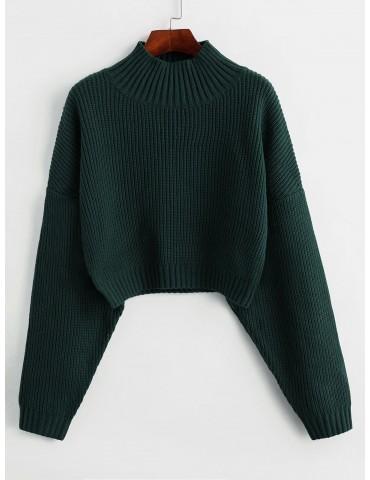 Drop Shoulder Mock Neck Plain Sweater - Dark Forest Green S