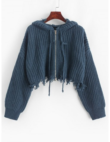 Hooded Zip Up Distressed Cropped Cardigan - Slate Blue M