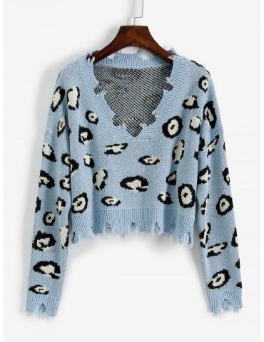 Leopard Ripped V Neck Crop Sweater - Blue Koi M