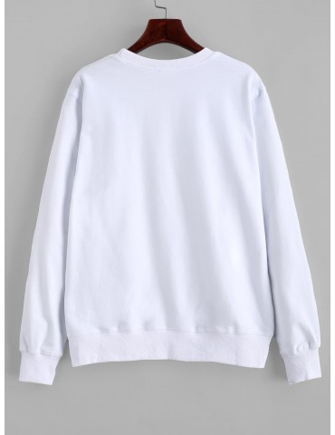 Hands Graphic Basic Pullover Sweatshirt - White L