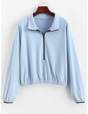 Half Zipper Drop Shoulder Elastic Hem Sweatshirt - Blue Gray Xl