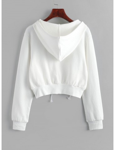 Zip Up Pockets Crop Drawstring Hoodie - White M