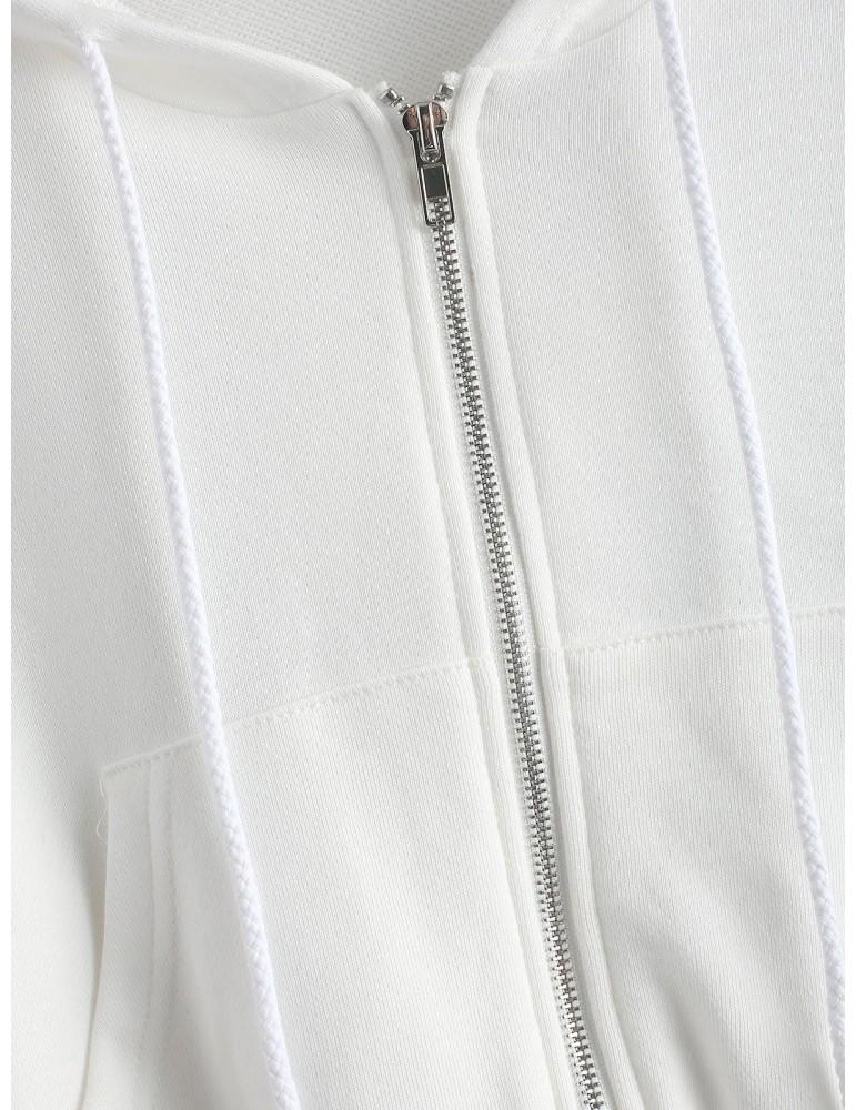 Zip Up Pockets Crop Drawstring Hoodie - White M
