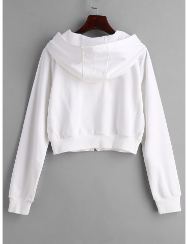Drawstring Zip Up Cropped Hoodie - White S