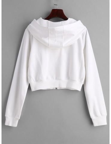 Drawstring Zip Up Cropped Hoodie - White S