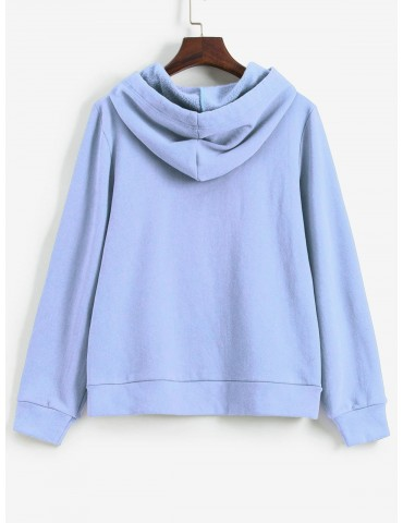 Embroidered Fleece Lined Kangaroo Pocket Hoodie - Day Sky Blue M