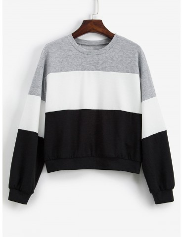 Color-blocking Contrast Drop Shoulder Sweatshirt - Multi-a S
