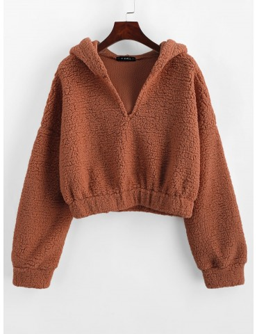 Drop Shoulder Faux Shearing Teddy Hoodie - Chocolate S