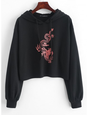 Dragon Print Drop Shoulder Drawstring Hoodie - Black M