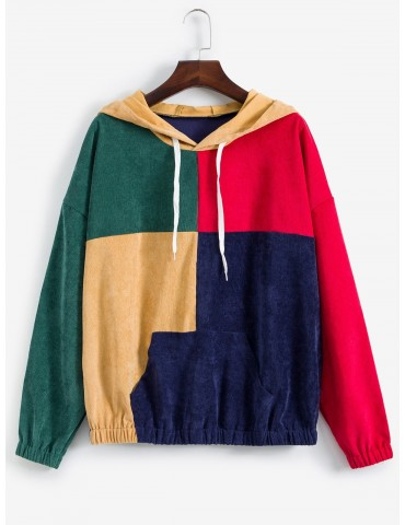 Drop Shoulder Front Pocket Colorblock Corduroy Hoodie - Multi-a M