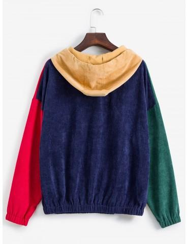 Drop Shoulder Front Pocket Colorblock Corduroy Hoodie - Multi-a M