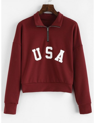 Half Zip Letter Graphic Sweatshirt - Red Wine