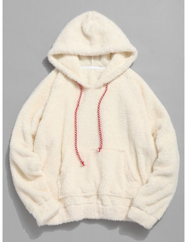 Kangaroo Pocket Plain Faux Fur Hoodie - Warm White M