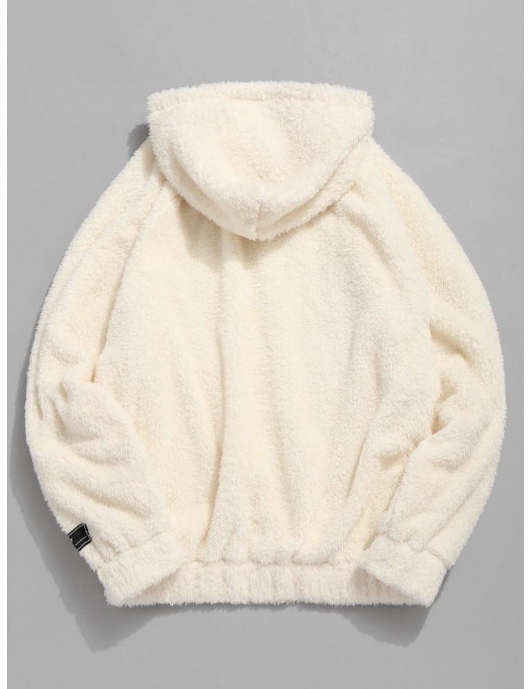 Kangaroo Pocket Plain Faux Fur Hoodie - Warm White M