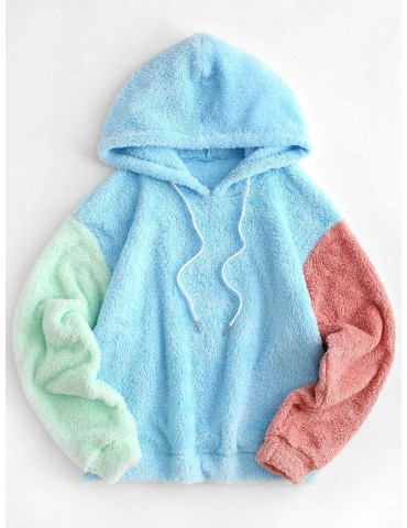 Colorblock Drop Shoulder Faux Fur Hoodie - Multi-a Xl