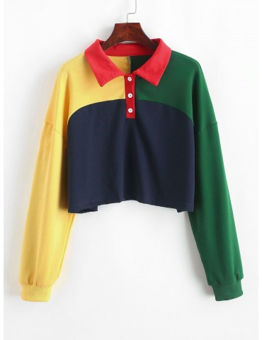 Colorblock Half Button Crop Sweatshirt - Multi M