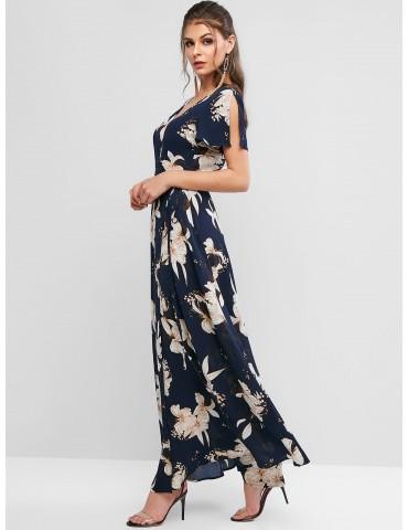 Spilt Sleeve Floral Print Maxi Wrap Dress - Deep Blue S