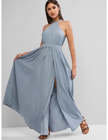 Keyhole Back High Slit Maxi Prom Party Dress - Slate Blue S