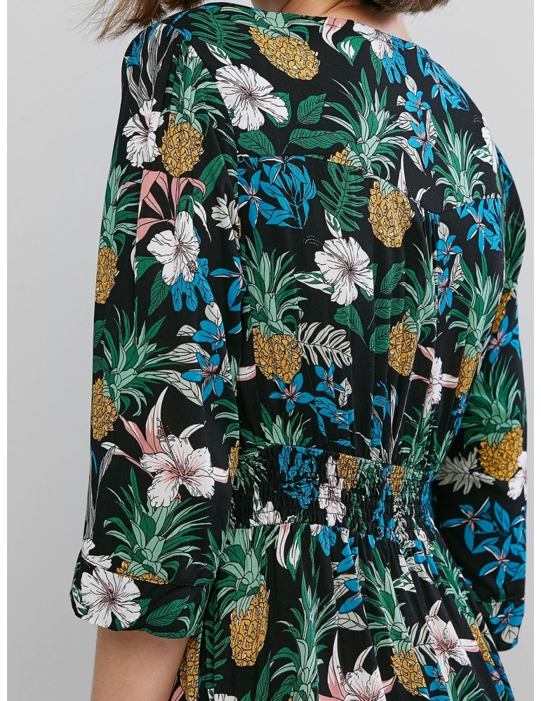 Floral Buttons Vacation Maxi Dress - Multi Xl