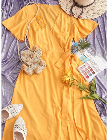 Solid Wrap Maxi Dress - Bright Yellow L
