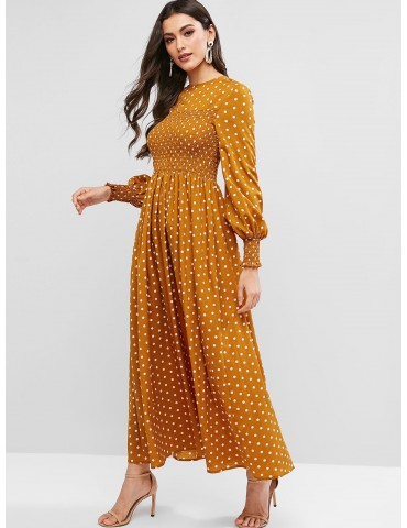 Shirred Polka Dot Maxi Dress - Bee Yellow S
