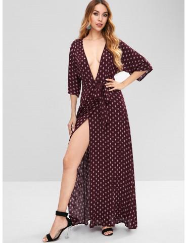 Plunge Slit Printed Maxi Dress - Red Wine M