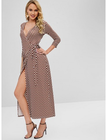 Wrap Maxi Polka Dot Dress - Brown S