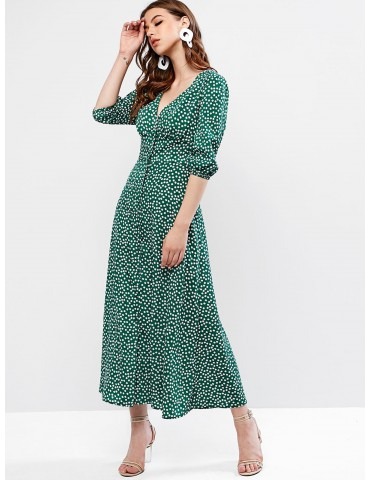 Buttoned Tiny Floral Maxi Flare Dress - Sea Green S