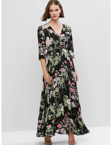 Slit Vacation Buttons Floral Maxi Dress - Multi S