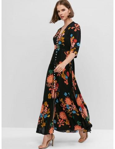 Buttons Slit Floral Vacation Maxi Dress - Black S