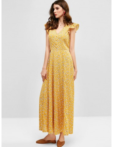 Floral Print Plunge Neck Slit Maxi Dress - Bee Yellow S