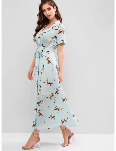 Flower Print Lapel Ankle Length Belted Dress - Multi M