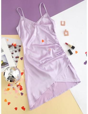 Cami Surplice Satin Ruched Mini Dress - Mauve S