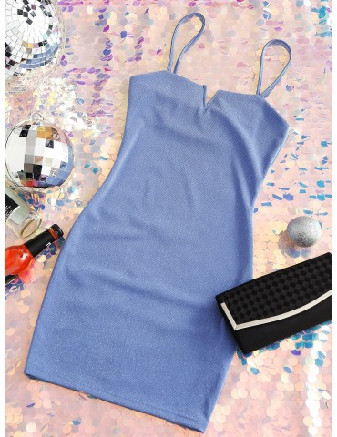 Glitter V Wired Cami Bodycon Dress - Day Sky Blue S