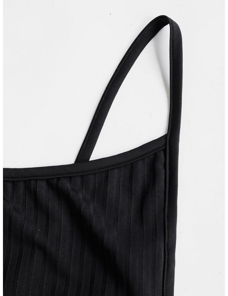 Backless Solid Bodycon Cami Dress - Black S