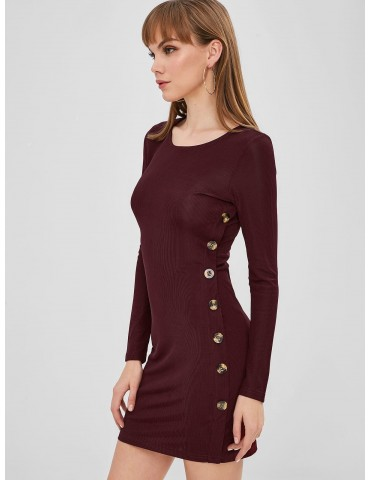 Buttoned Long Sleeve Bodycon Dress - Red Wine Xl